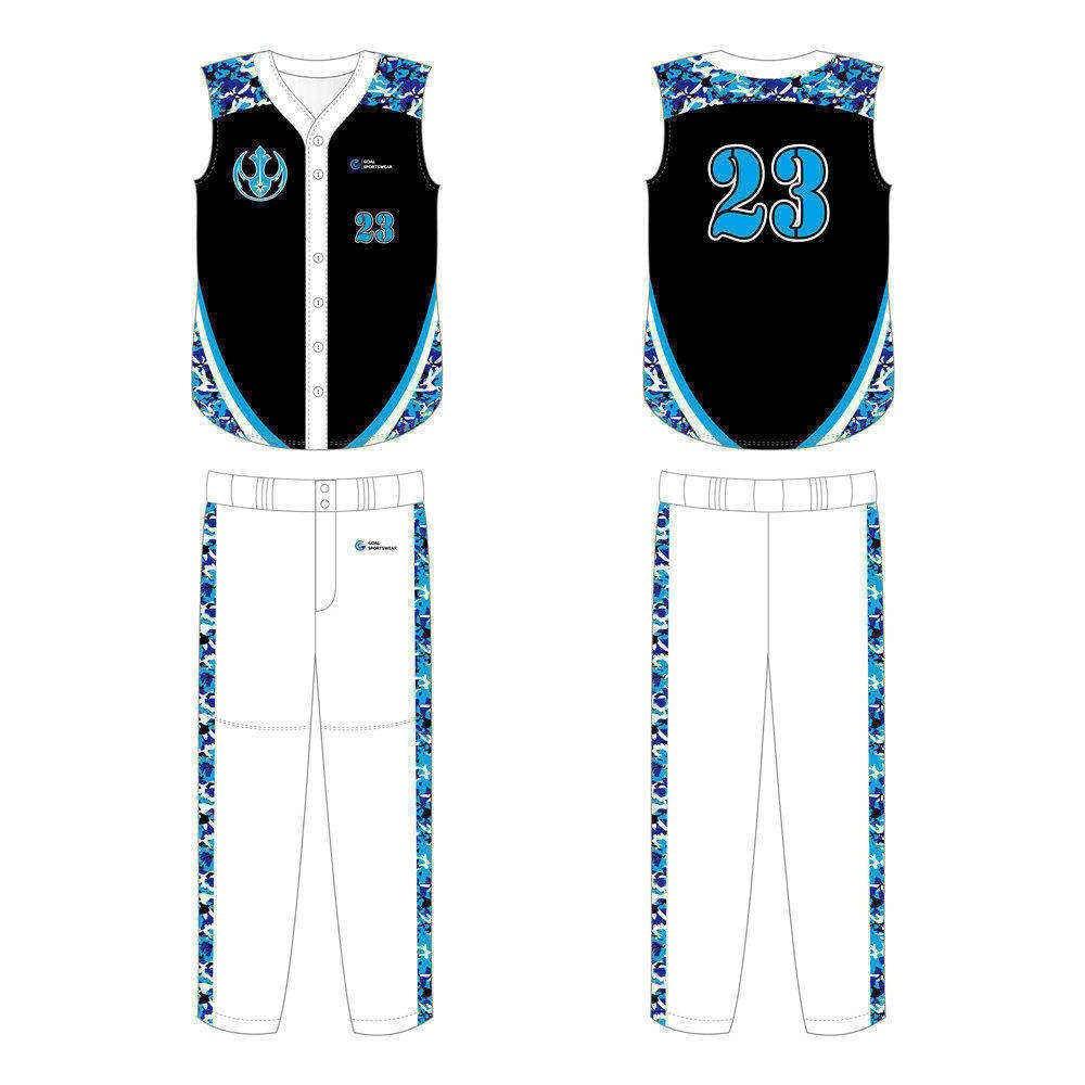 Full polyester breathable custom design sublimated sleeveless baseball jersey