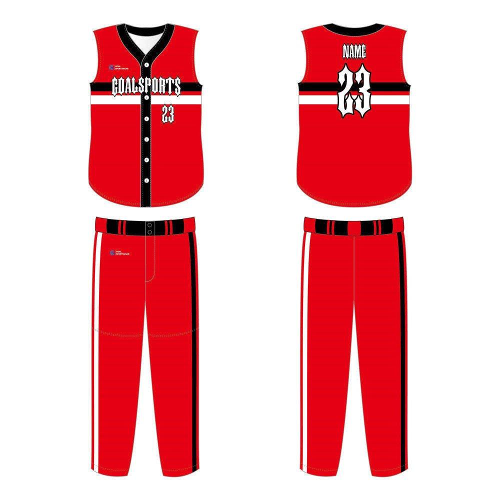 High quality 100% polyester sublimation custom design sleeveless baseball jersey