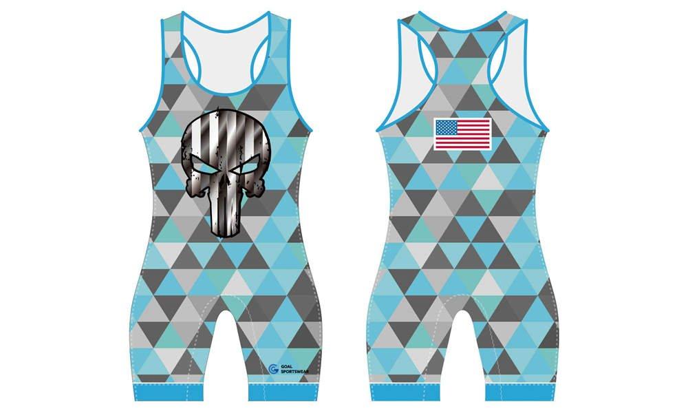 High school custom design sublimated wrestling uniform