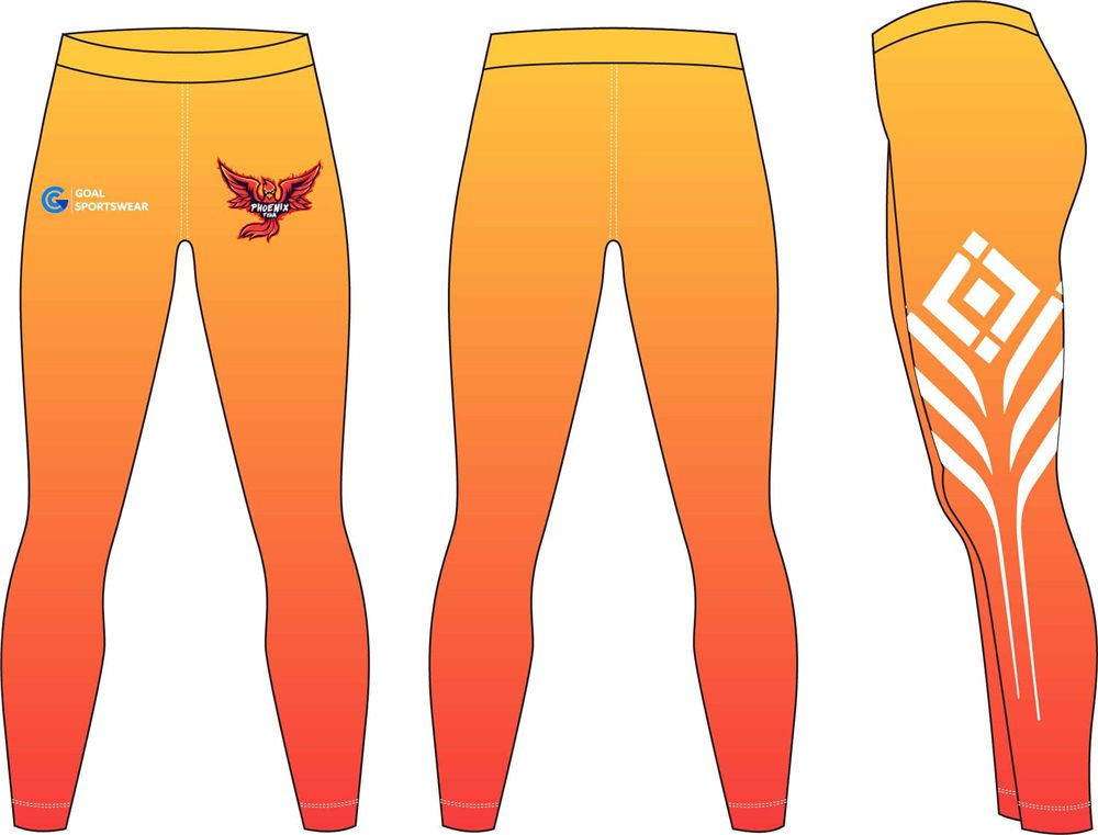 Pro polyester breathable sublimated custom orange compression pants