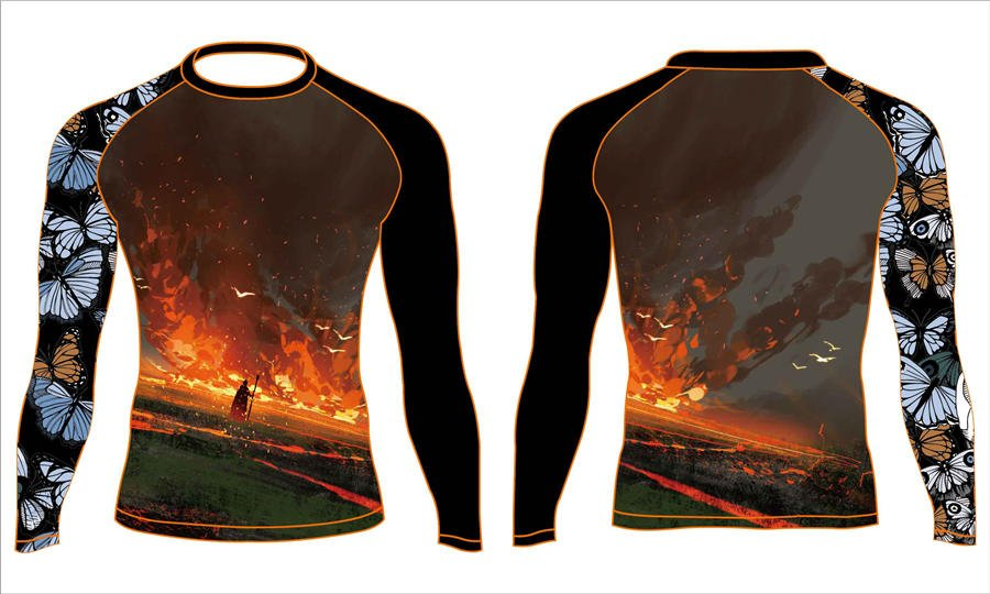 Pro quality sublimation printing custom design team long sleeve rash guard