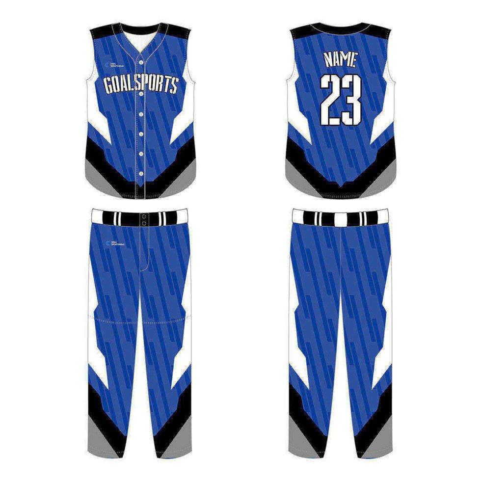 Pro quality sublimation printing custom design team sleeveless baseball jersey