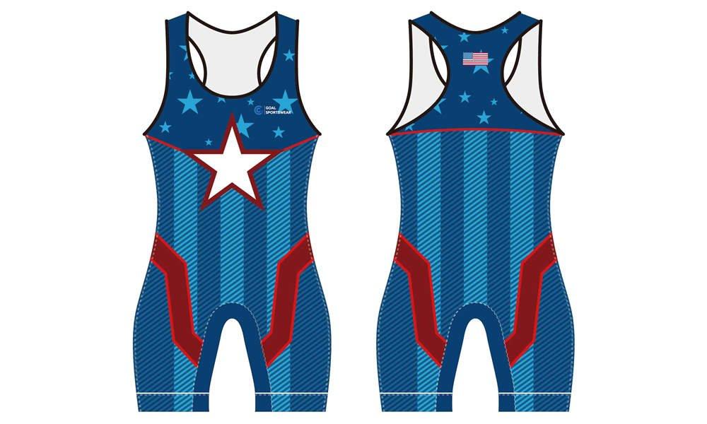 Pro quality sublimation printing custom design team wrestling uniform
