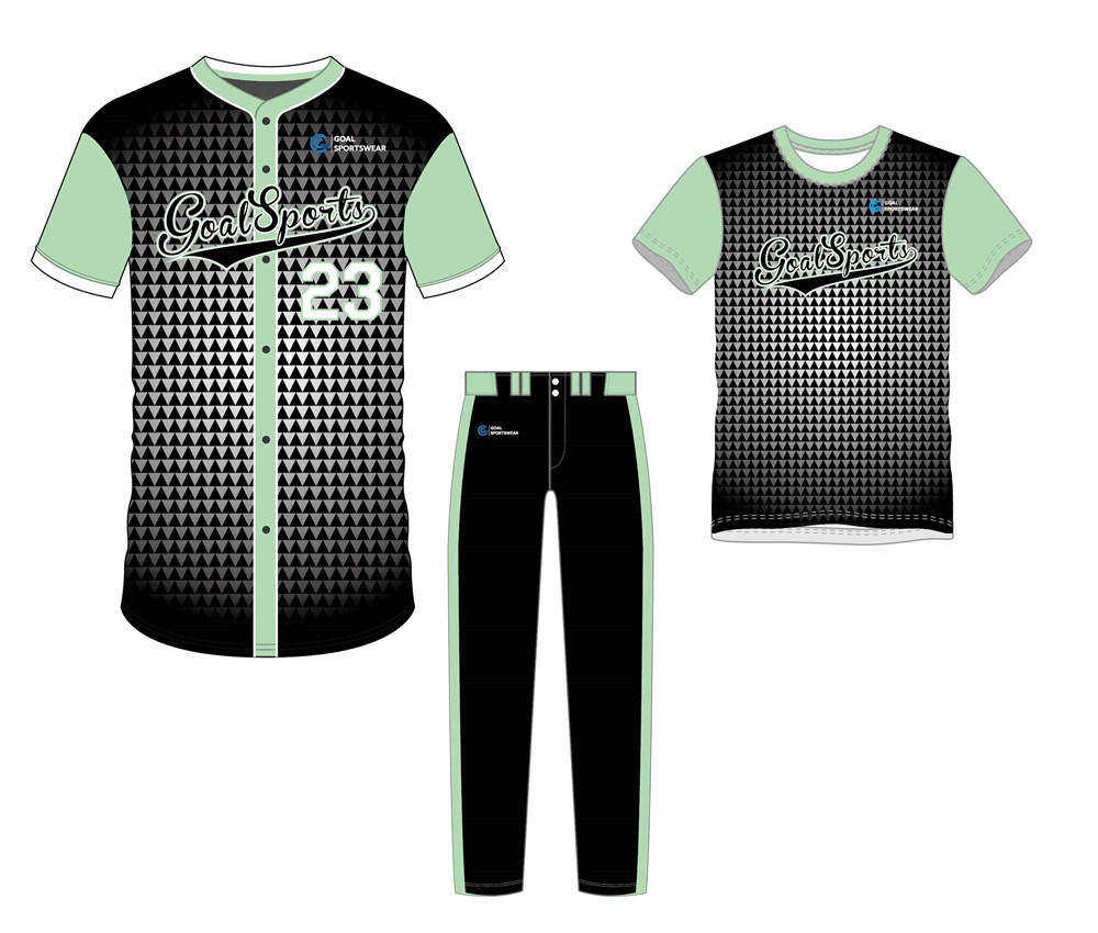 Sublimation printing 100% polyester dry fit custom baseball uniform packages