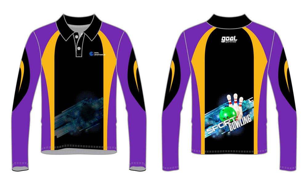Sublimation printing 100% polyester dry fit custom bowling jerseys