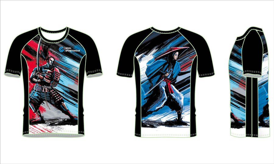 Sublimation printing 100% polyester dry fit custom rash guard shirts