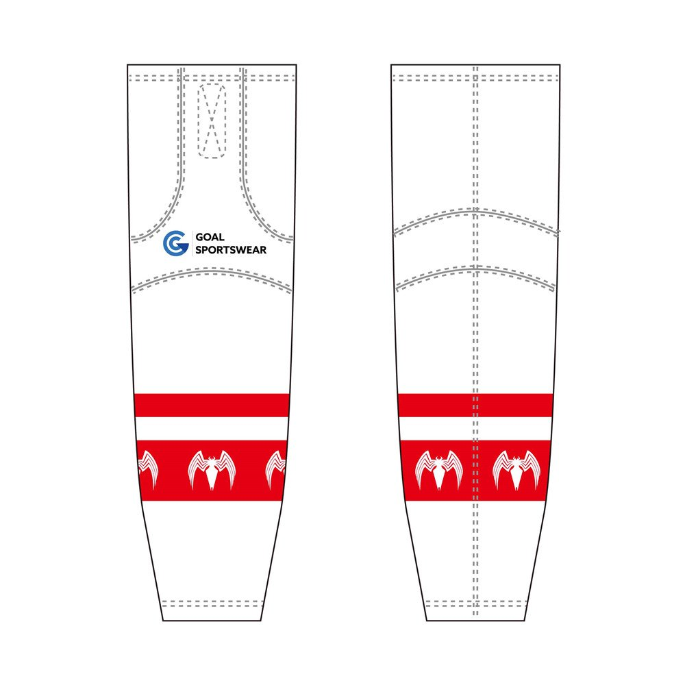 Sublimation printing 100% polyester dry fit custom white hockey socks