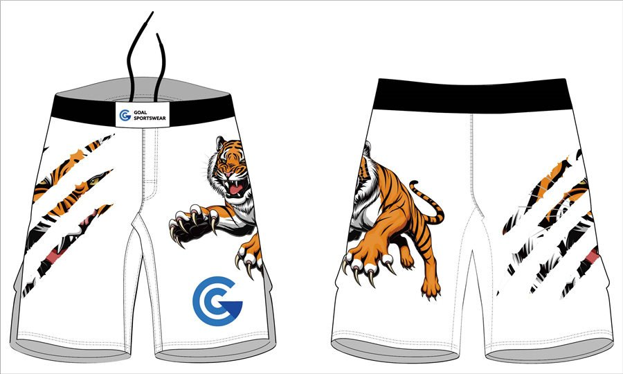 Wholesale high quality sublimation printing custom mens mma shorts with long slits
