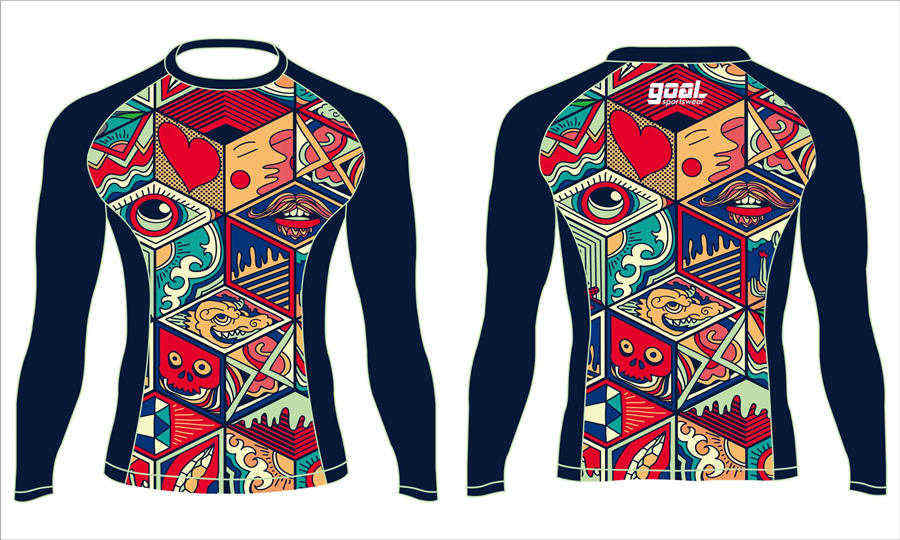 Wholesale high quality sublimation printing custom rash guard shirts