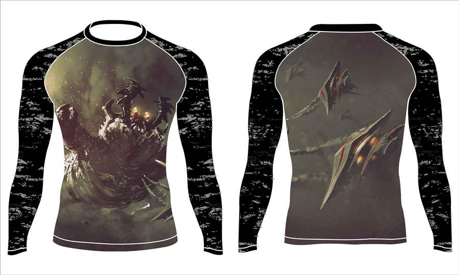 Wholesale pro quality custom design sublimated kids rash guard shirts