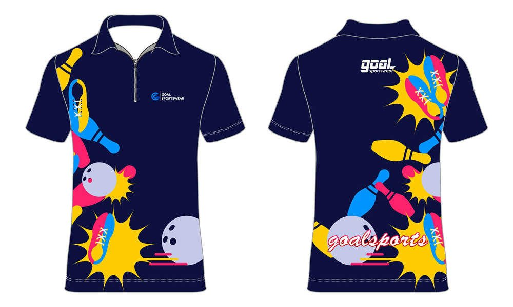 wholesale 100% polyester custom made sublimation bowling jerseys