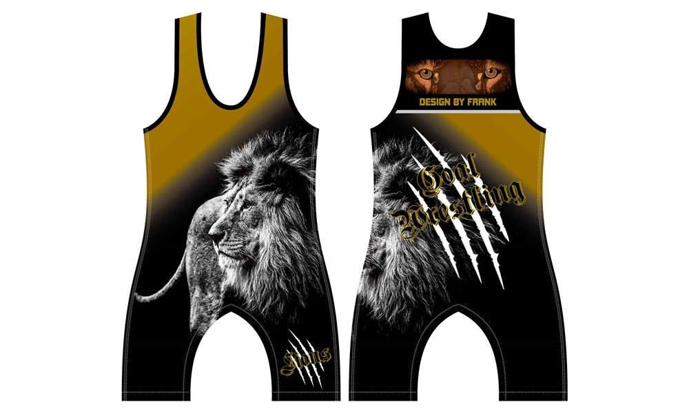 wholesale 100% polyester custom printed college wrestling uniform