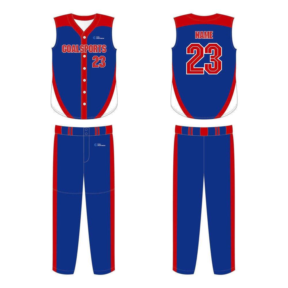 wholesale 100% polyester custom sublimated printed sleeveless baseball jersey