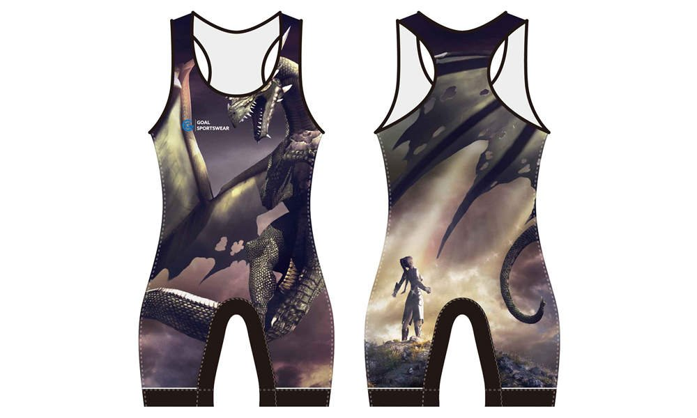 wholesale 100% polyester custom sublimated printed wrestling uniform