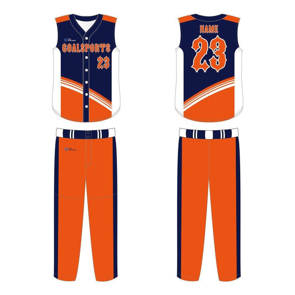 wholesale China custom design sublimation printing sleeveless baseball jersey