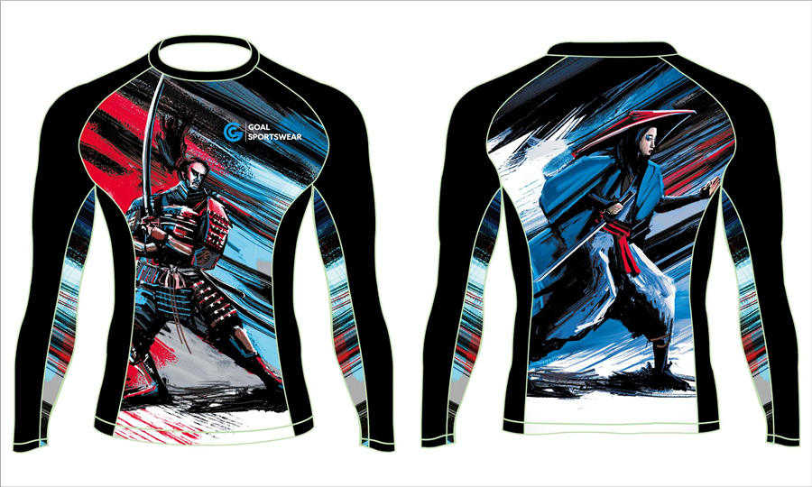wholesale pro spandex custom sublimated printed team long sleeve rash guard