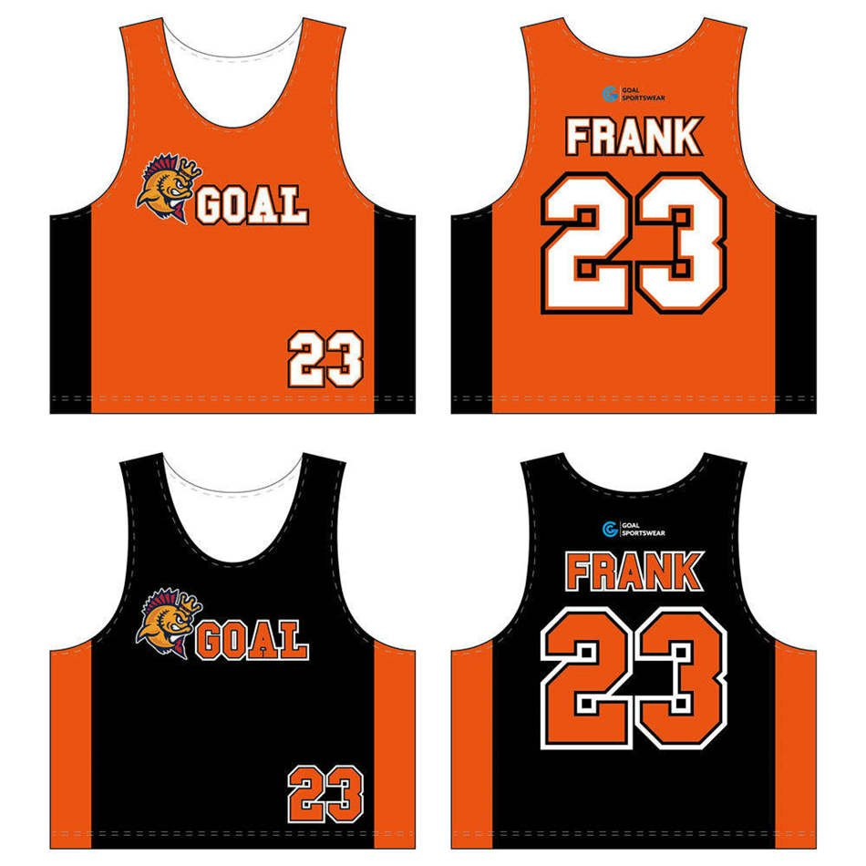 100% polyester dry fit custom design sublimated lacrosse reversible pinnies