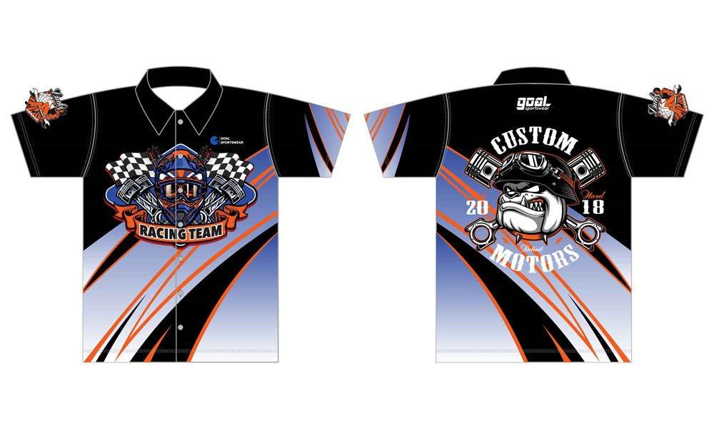 100% polyester sublimation custom printed custom pit crew shirts