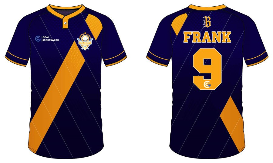 100% polyester sublimation mens custom Two-Button Baseball Jersey