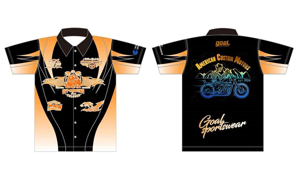 100% polyester sublimation printing custom youth team custom pit crew shirts