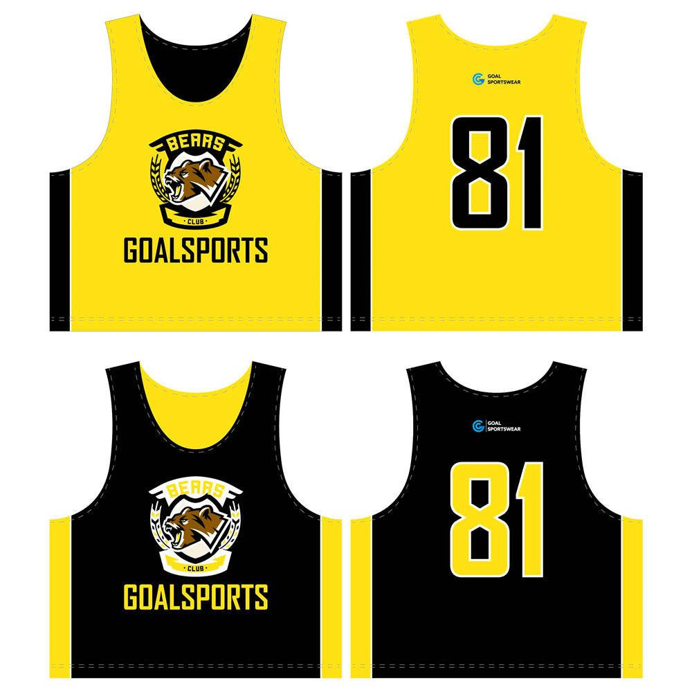 Custom design sublimated youth lacrosse reversible pinnies