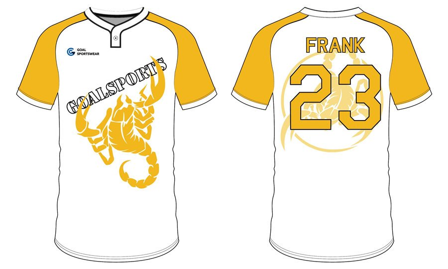 Custom made sublimated printing short sleeve Two-Button Baseball Jersey