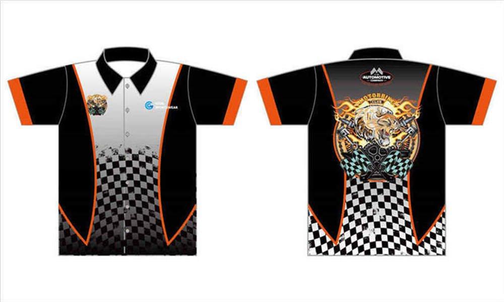 Custom made sublimated printing short sleeve custom pit crew shirts