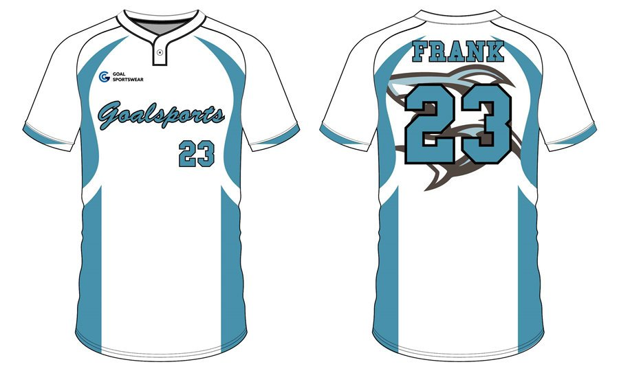Custom made sublimation printing mens pro Two-Button Baseball Jersey