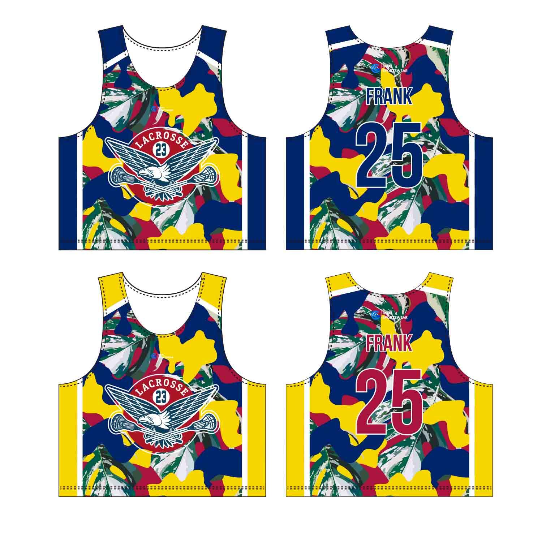 Custom Made Sublimation Printing Men's Pro Custom Lacrosse Pinnies