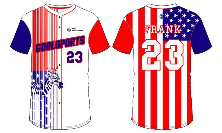 Dye sublimation custom design team Full Button Baseball Jerseys