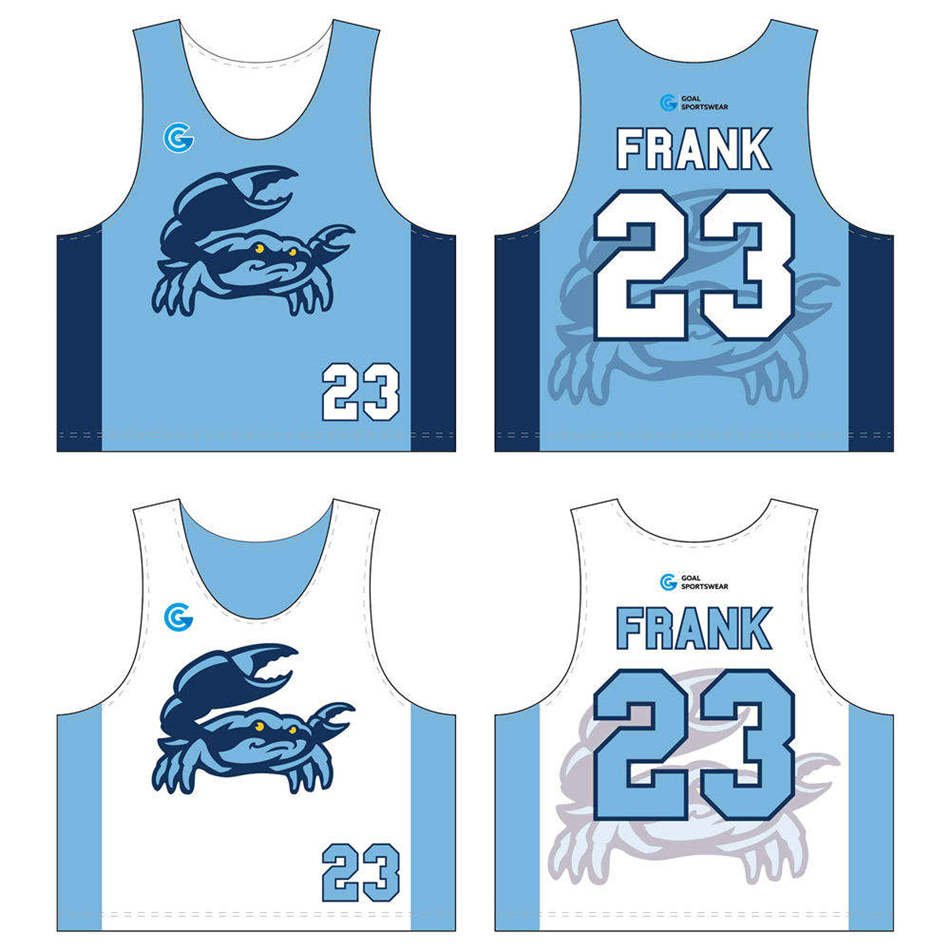 Dye sublimation custom design team lacrosse reversible pinnies
