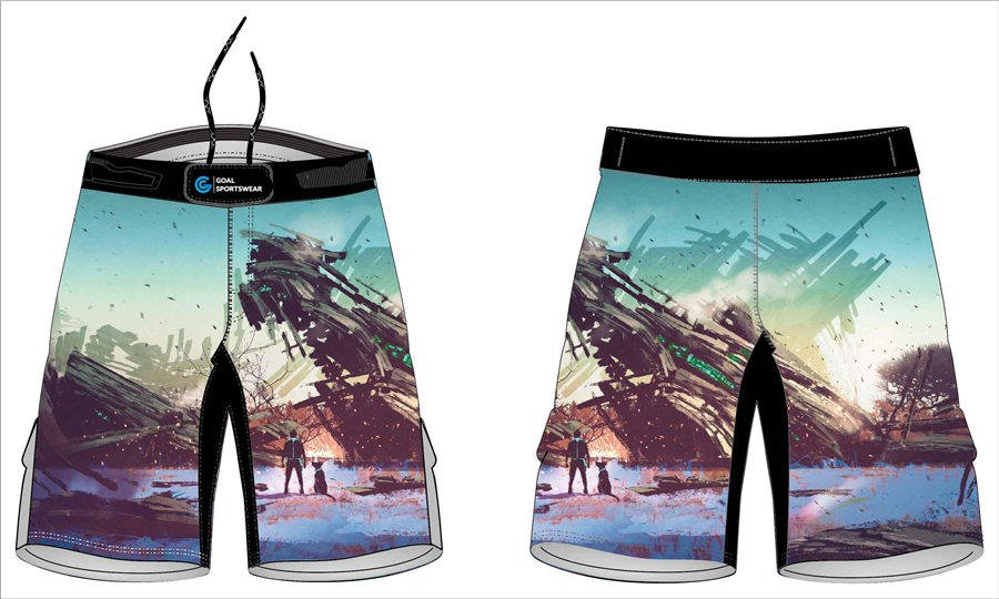 Dye sublimation custom design team wrestling fight shorts