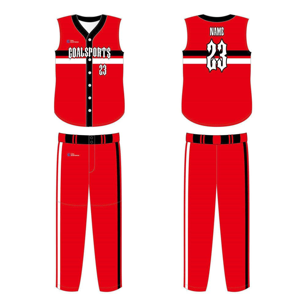 Dye sublimation printing Custom design youth Custom Sleeveless Baseball Jerseys
