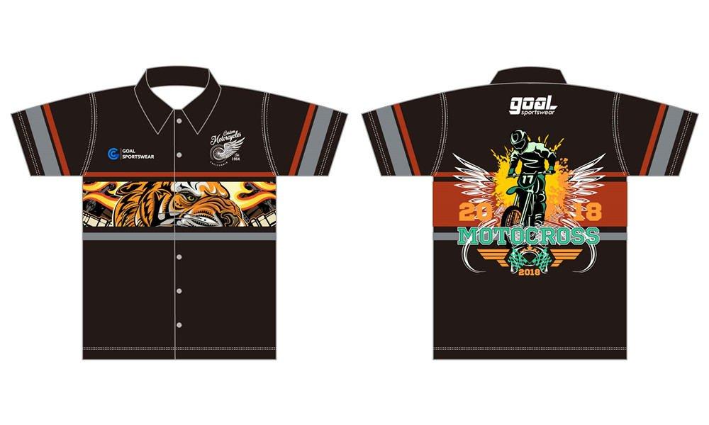Dye sublimation printing custom design full polyester custom pit crew shirts
