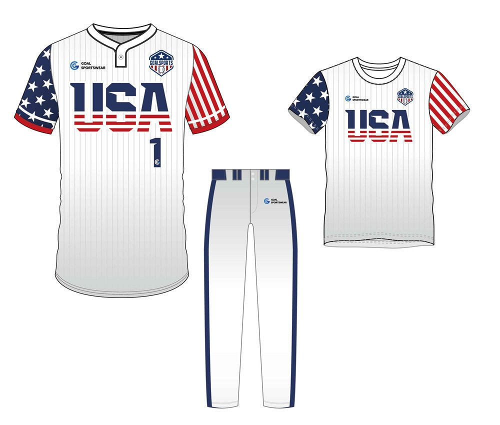 Full dye sublimation printing custom made team Two-Button Baseball Jersey