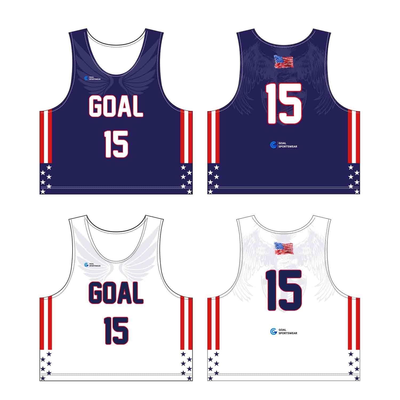 Full Dye Sublimation Printing Custom Made Team Custom Lacrosse Pinnies
