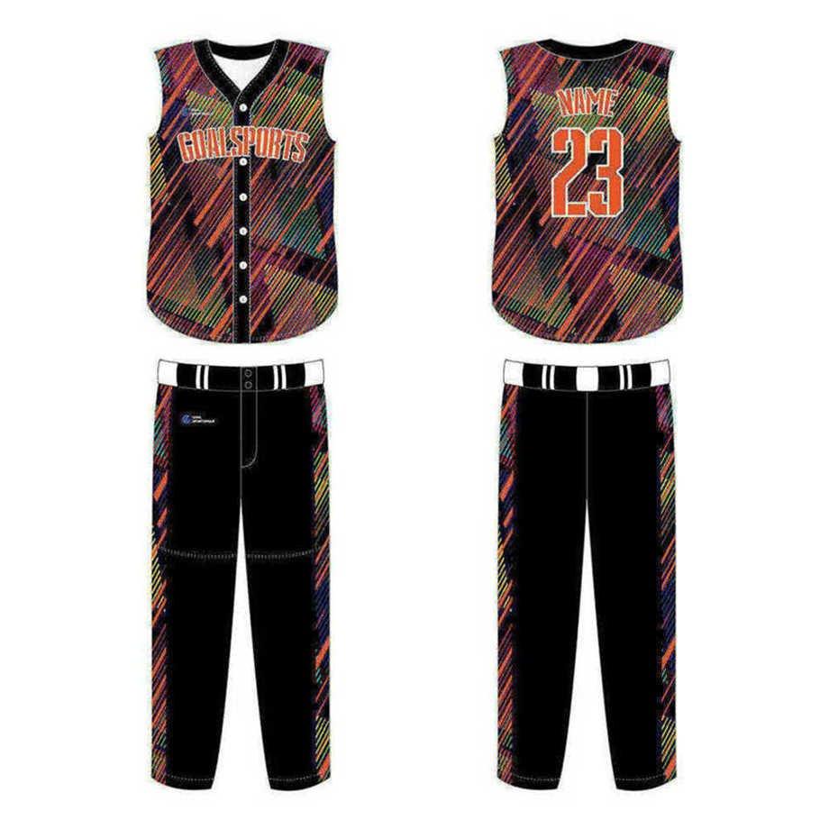 Full polyester Custom made durable mens team Custom Sleeveless Baseball Jerseys