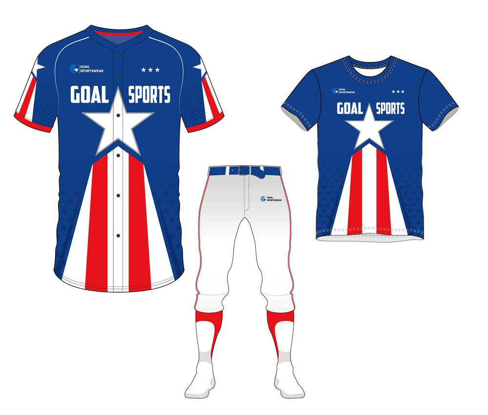 Full polyester Custom made durable mens team Two-Button Baseball Jersey