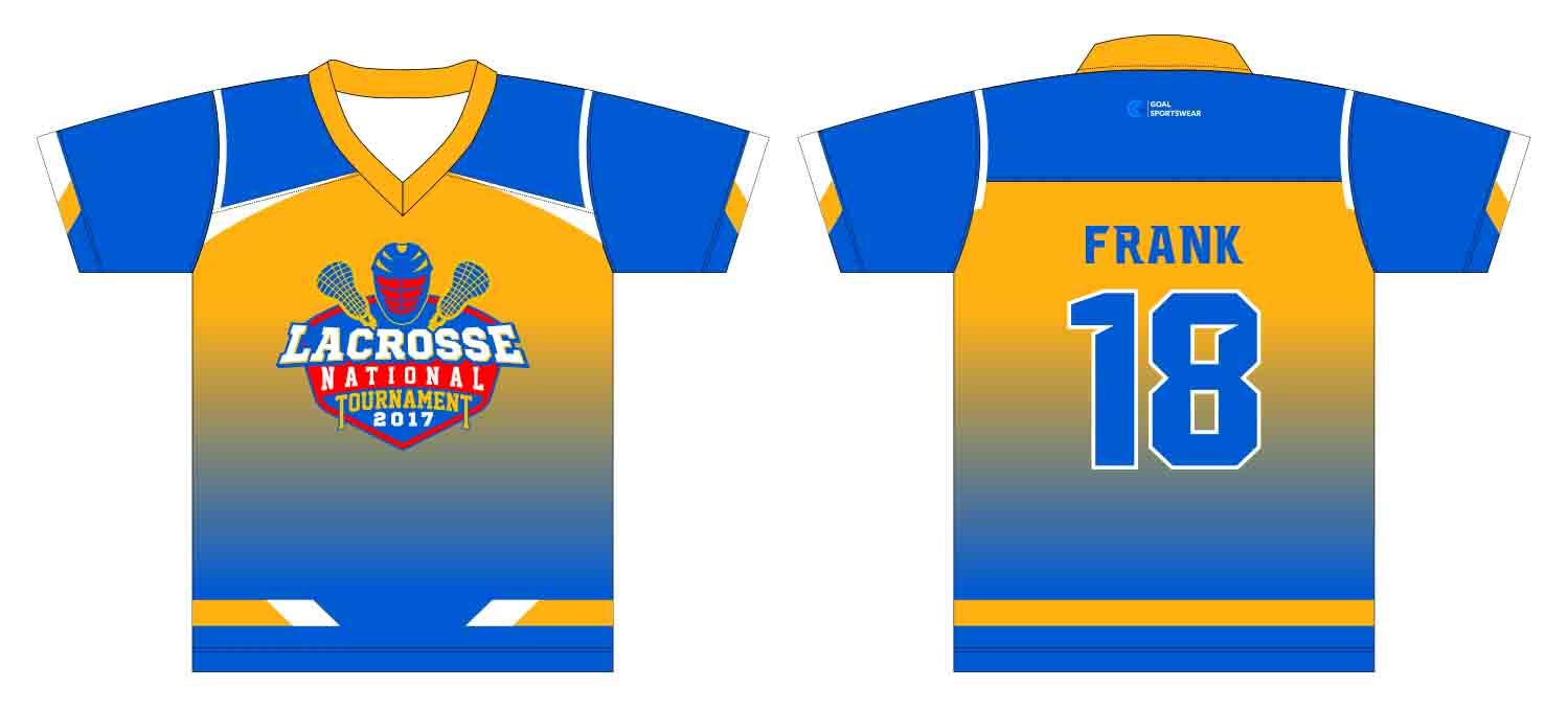 Full polyester Custom made durable mens team Custom Lacrosse Shirts