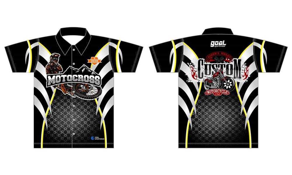 Full polyester Custom made durable mens team custom pit crew shirts