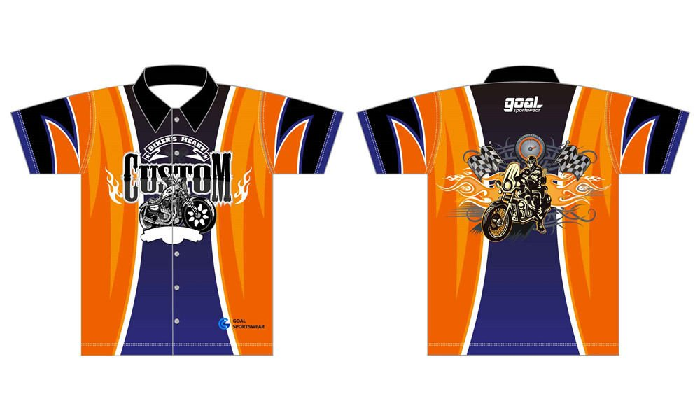 Full polyester durable sublimated custom youth team custom pit crew shirts