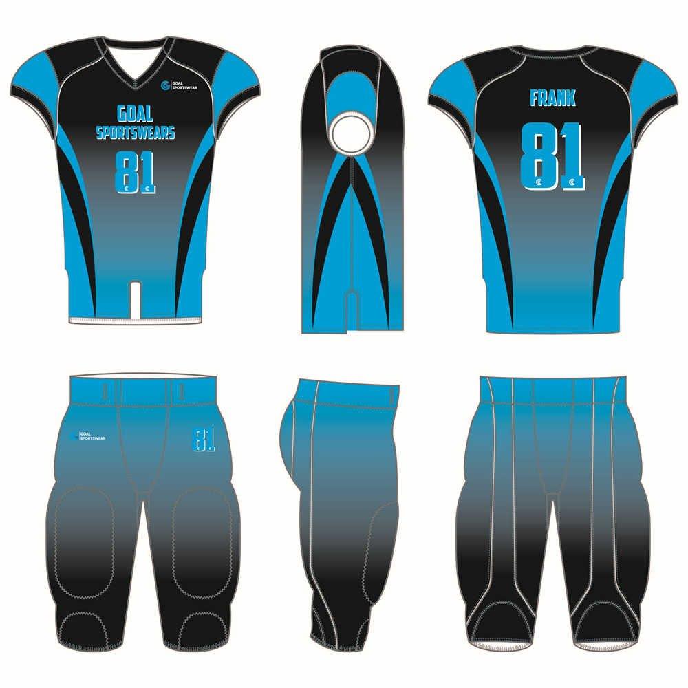 Sublimation printing 100% polyester dry fit custom custom football uniforms