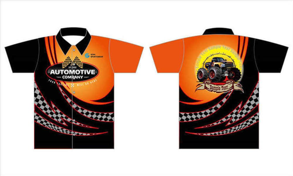 Sublimation printing 100% polyester dry fit custom custom pit crew shirts