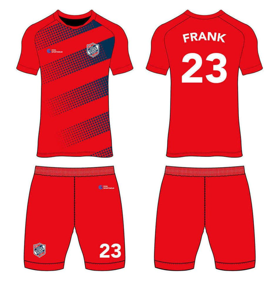 Sublimation printing 100% polyester dry fit custom custom soccer kits