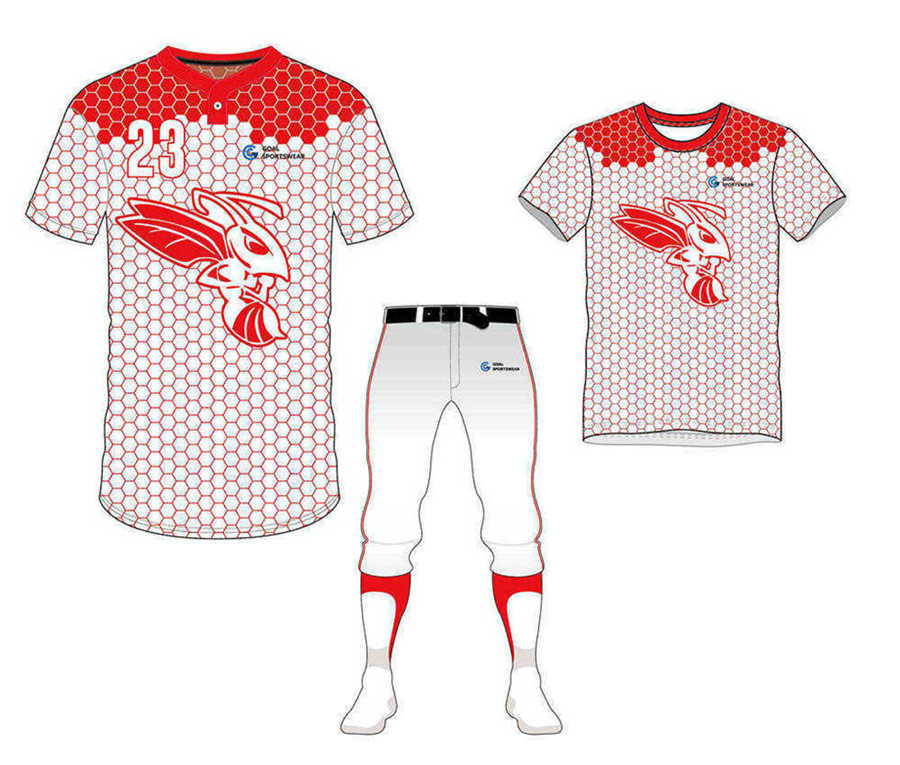 wholesale 100% polyester custom made sublimation Two-Button Baseball Jersey