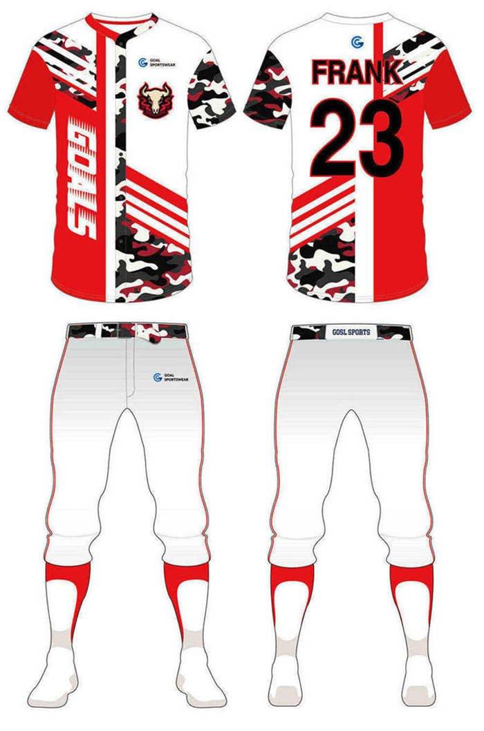 Custom design sublimation printing breathable reversible custom camo baseball jersey