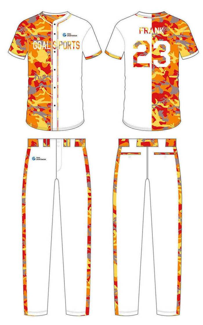 Custom made sublimated printing short sleeve custom camo baseball jersey