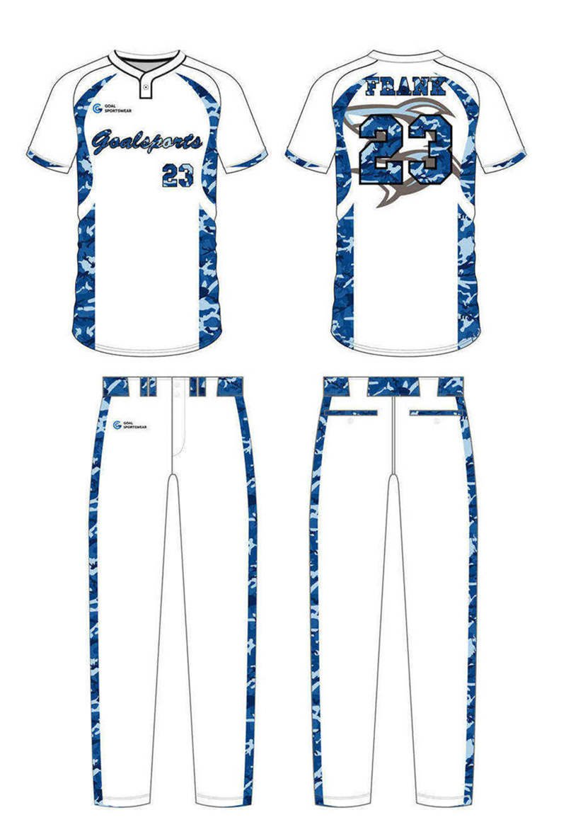 Custom made sublimation printing mens pro custom camo baseball jersey