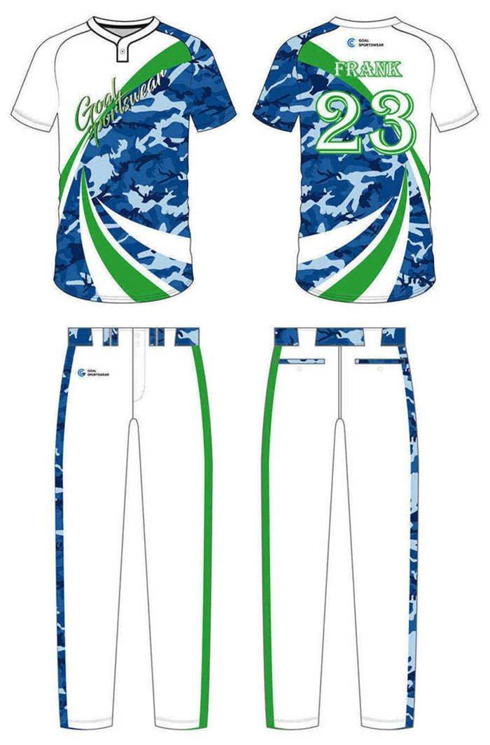 Dye sublimation custom design team custom camo baseball jersey