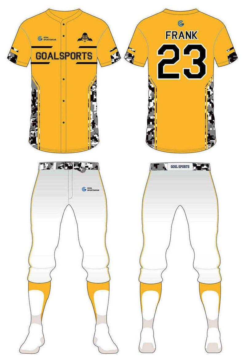 Dye sublimation printing Custom design youth custom camo baseball jersey